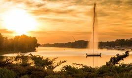 Заход солнца на озере Белград Стоковые Фото