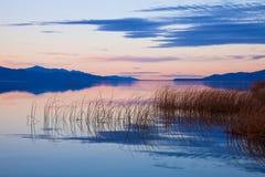Заход солнца на озере Ют Стоковое Изображение