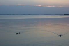 Заход солнца на озере Стоковое фото RF