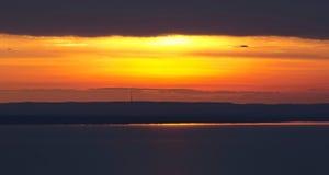Заход солнца на озере Balaton, Венгрии Стоковые Изображения RF