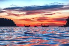 Заход солнца на острове Phuket стоковое фото rf