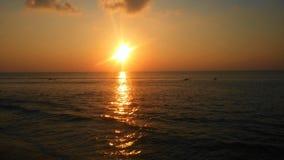 Заход солнца на пляже Керале моря, Индии стоковое фото rf