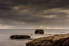 Заход солнца на пляже Фуэртевентуры Стоковые Фото