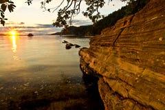 Заход солнца на пляже Стоковое Изображение RF