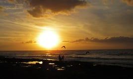 Заход солнца на пляже на Canaries Стоковое Фото