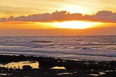 Заход солнца на пляже на Canaries Стоковые Фотографии RF