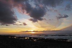 Заход солнца на пляже на Canaries Стоковая Фотография RF