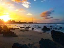 Заход солнца на пляже, Ceará, Бразилия стоковое изображение rf