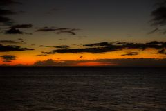 Заход солнца на пляже Kaanapali Стоковое Изображение RF