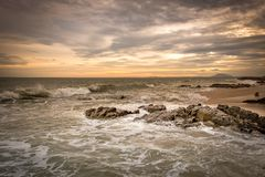 Заход солнца на пляже Ne Mui стоковые изображения rf