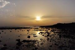 Заход солнца на пляже Sajorami стоковое изображение rf
