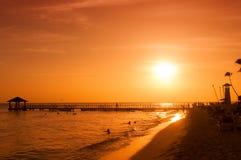 Заход солнца на побережье карибского моря доминиканский заход солнца Стоковое Изображение RF