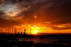 заход солнца на порте, Стоковая Фотография