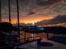 заход солнца на пристани в Венеции стоковые фотографии rf