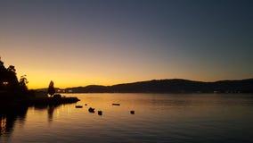 Заход солнца на пристани Стоковые Фотографии RF