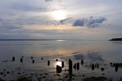 Заход солнца на резервуаре Рыбинска, силуэты остаток деревянных куч вставляет из воды, зоны Yaroslavl Стоковые Изображения