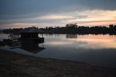 Заход солнца на Реке Сава стоковое изображение rf