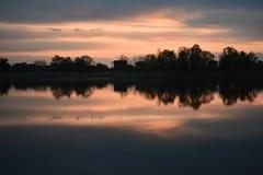 Заход солнца на Реке Сава стоковое фото