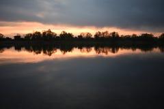Заход солнца на Реке Сава стоковые фотографии rf