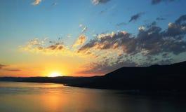 Заход солнца на реке Стоковое Фото