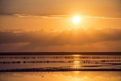 Заход солнца на розовом озере сол, Sivash, вертел Arabat стоковые фото