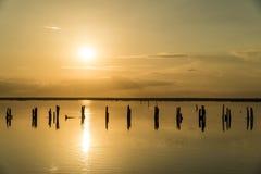 Заход солнца на розовом озере сол, Sivash, вертел Arabat стоковая фотография