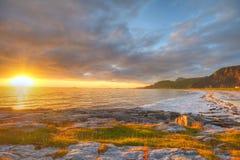Заход солнца на свободном полете Andoya в Норвегии Стоковые Фотографии RF