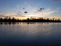 Заход солнца на смычке стоковые изображения rf