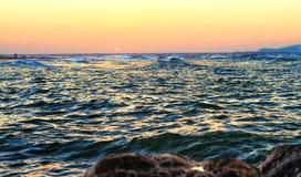 Заход солнца на Средиземном море стоковые фотографии rf