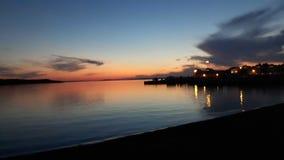 Заход солнца на старом пляже городка Стоковое Фото