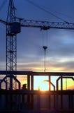 Заход солнца на строительной площадке Стоковая Фотография