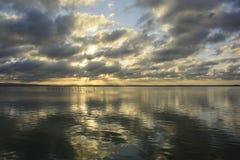 Заход солнца на точке зрения Albufera Валенсии Стоковые Изображения RF