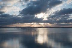Заход солнца на точке зрения Albufera Валенсии Стоковые Фотографии RF