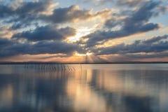Заход солнца на точке зрения Albufera Валенсии Стоковая Фотография