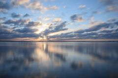 Заход солнца на точке зрения Albufera Валенсии Стоковые Фото