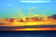 Заход солнца на французской скале стоковое изображение rf