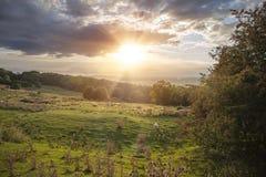 Заход солнца на холме Dovers около откалывать Campden, Cotswolds, Gloucestershire, Англию стоковое изображение