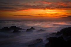 Заход солнца на этап Dume, Калифорния стоковые фотографии rf