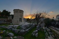 Заход солнца на Aerides, старом римском рынке - Monastiraki стоковая фотография rf