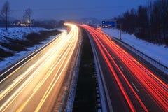 Заход солнца на autobahn Стоковые Изображения