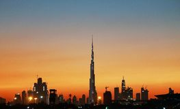 Заход солнца на Burjkhalifa Стоковые Изображения RF