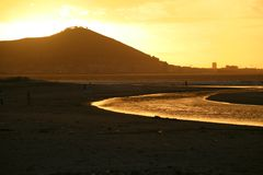 Заход солнца на Cape Town Стоковое Фото