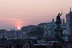 Заход солнца на degli Schiavoni Riva в Венеции, Италии Стоковая Фотография