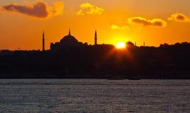 Заход солнца на istanbul Стоковые Изображения