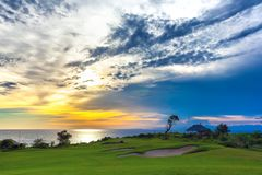 Заход солнца на Jimbaran, южном Kuta, Бали, Индонезии стоковое изображение rf