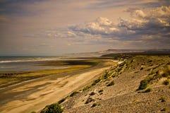 Заход солнца на patagonic береговой линии Стоковое Изображение RF