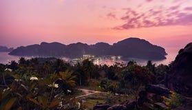 Заход солнца на Phi Phi Koh Стоковая Фотография