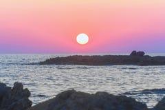 Заход солнца на Torre Lapillo - Apulia, Италии стоковая фотография rf