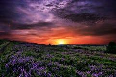 Заход солнца солнца неба облаков холмов гор Стоковое Изображение