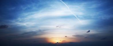 заход солнца неба панорамы Стоковые Изображения